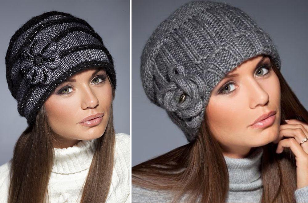вязаные шапки для женщин за 60